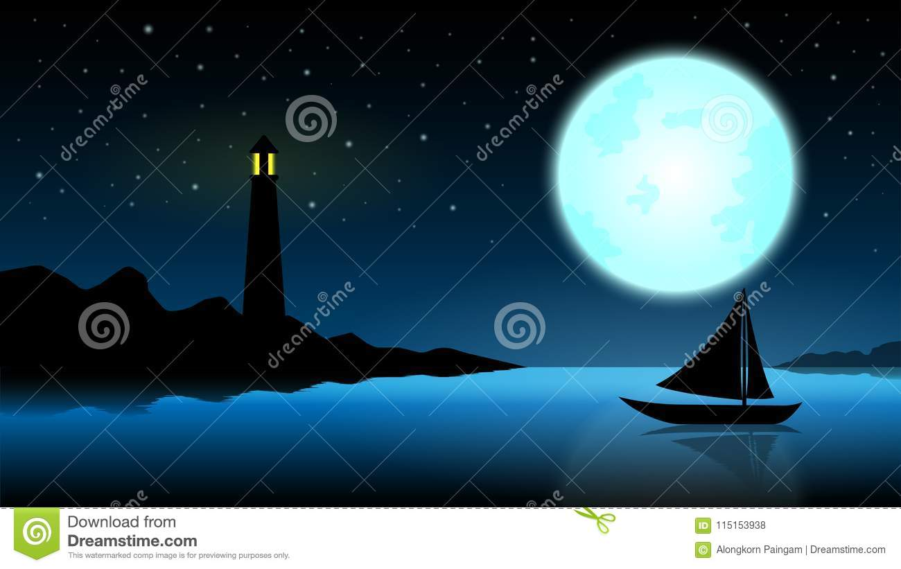 Ship in the night of full moon;blue ocean with lighthouse at mid