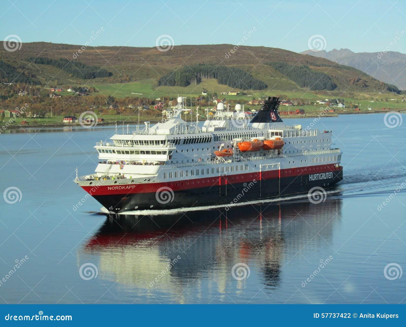 Ship norwegian hurtigruten cruising fjord