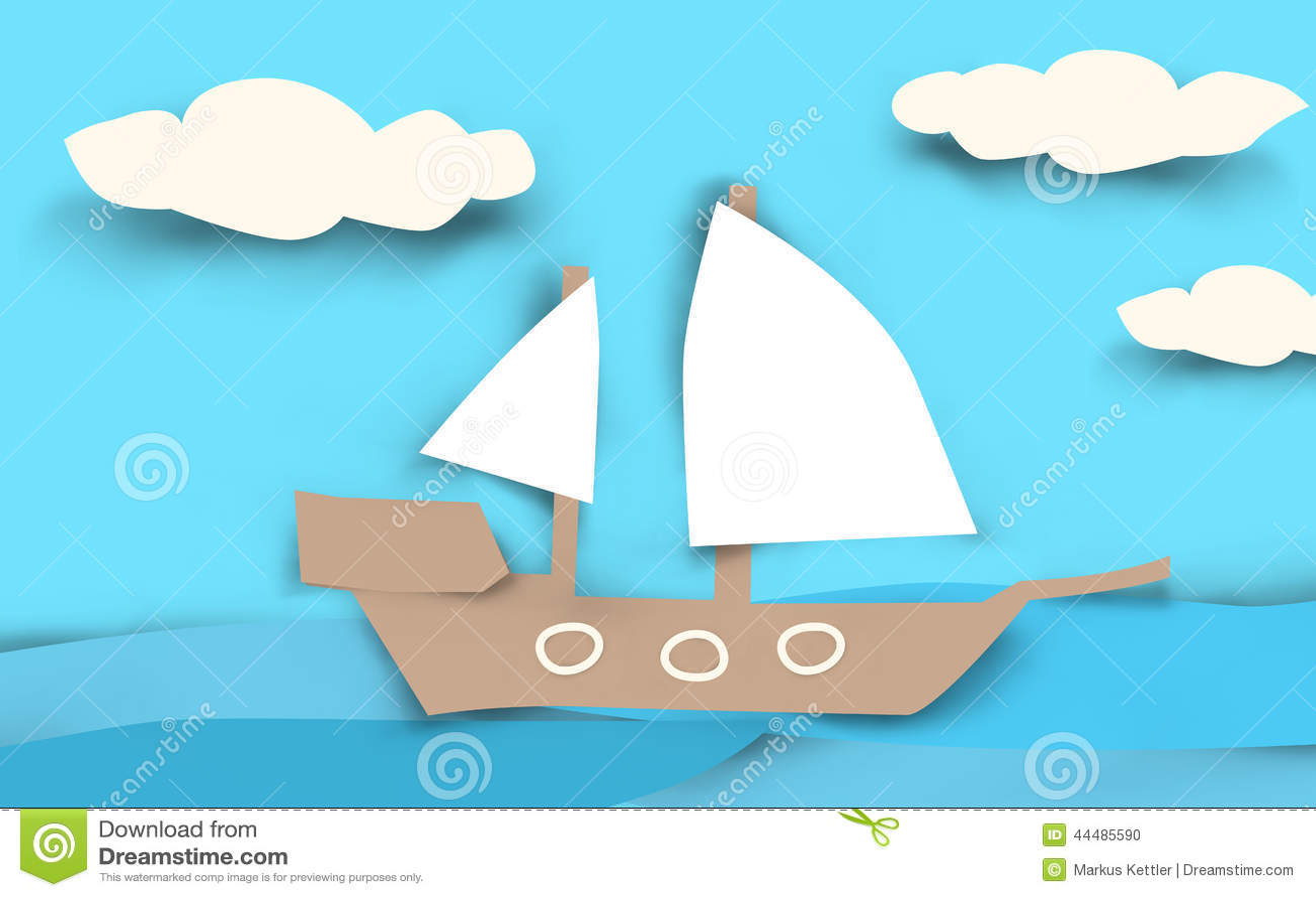 Ship Paper Cut Stock Illustration. Illustration Of Child