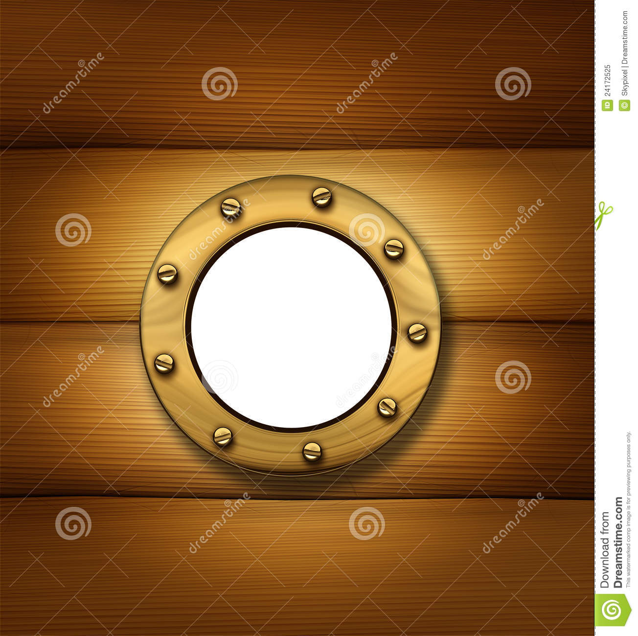 Porthole or ship window on an old wood frame wall as a nautical and