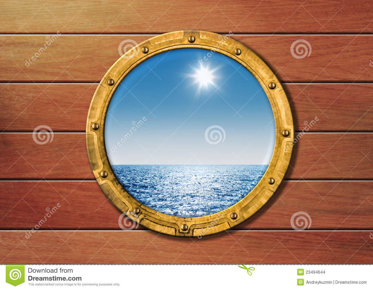 Ship Porthole On Wooden Wall Stock Photo - Image of rustic ...