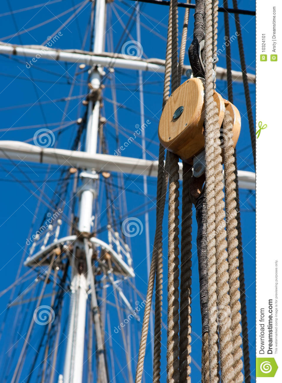 Ship Pulley And Rope Stock Image Image Of Blue Equipment