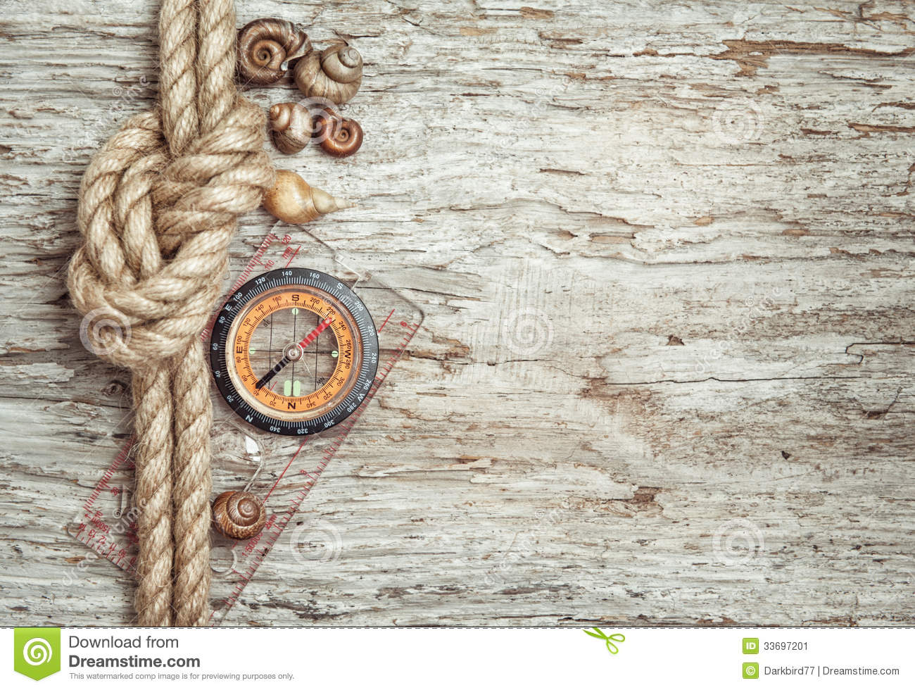Ship Rope Shells Compass And Wood Background Stock Image Image 33697201