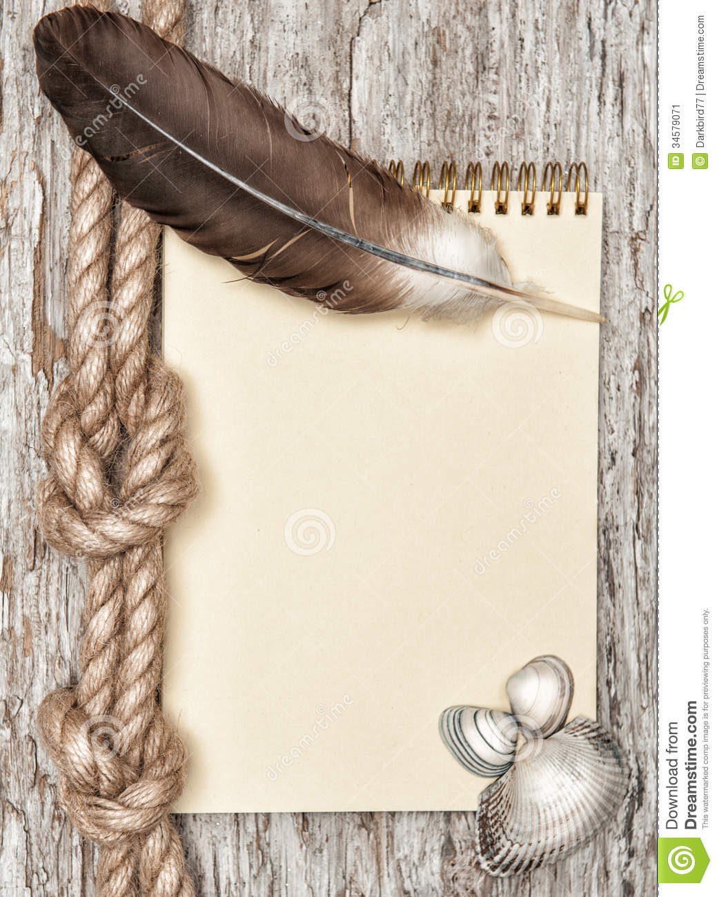 Ship Rope, Shells, Notebook And Wood Background Royalty