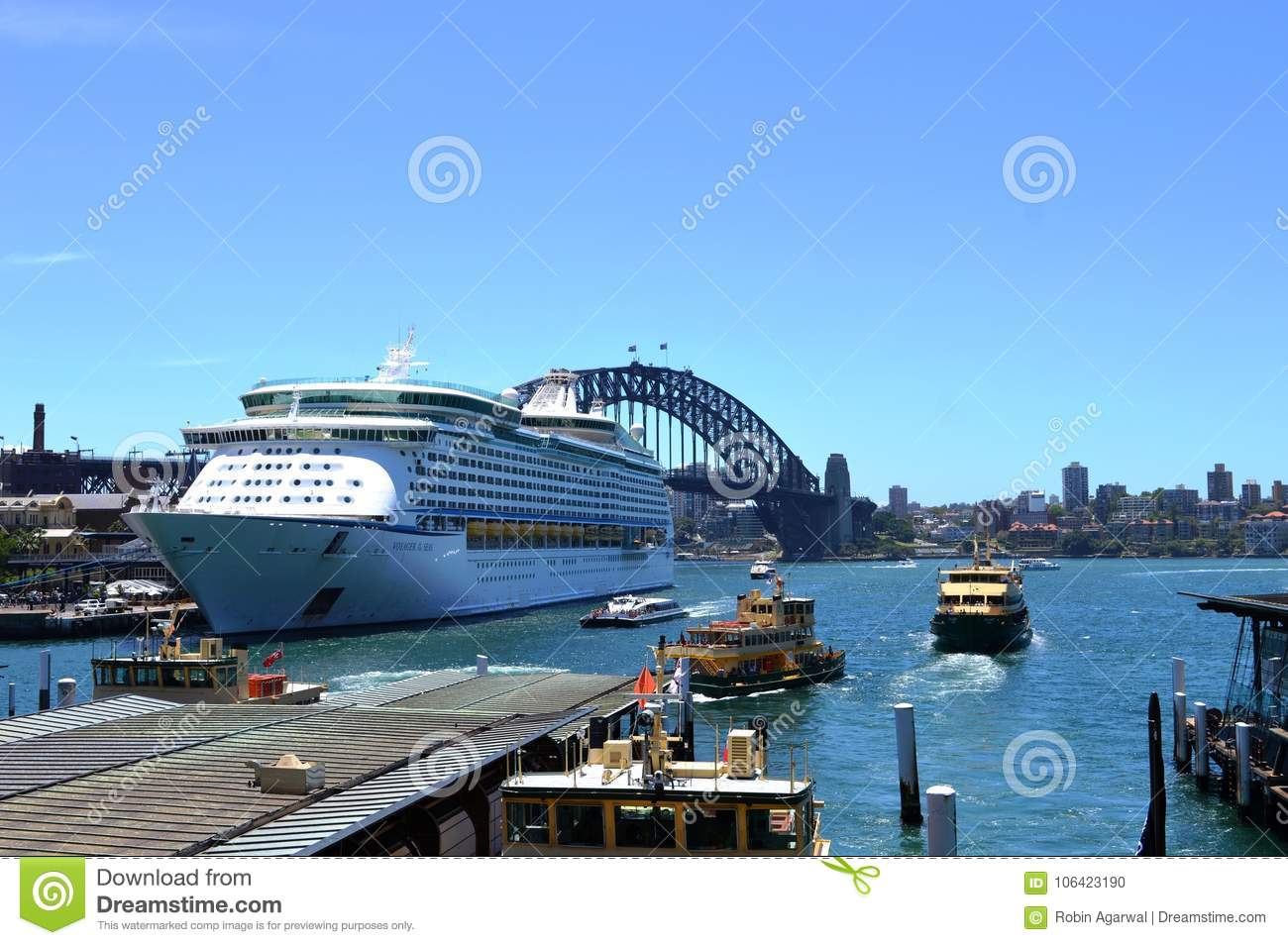 Ship Of Royal Caribbean Cruise With Harbour Bridge, NSW Editorial