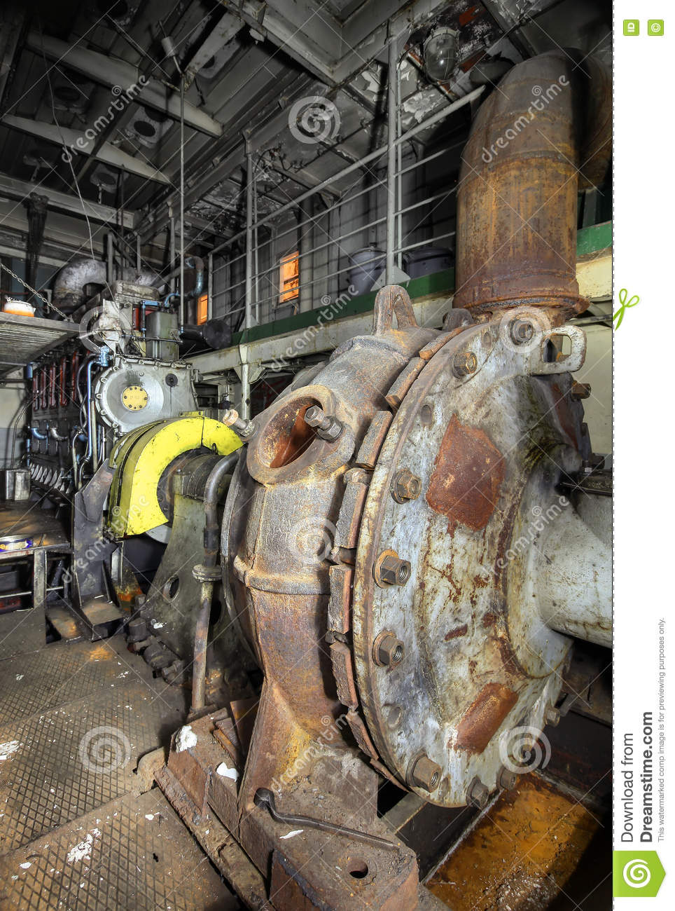 Boat Engine Room: The Ship's Hold With Diesel Engine Mounted On Ship Stock