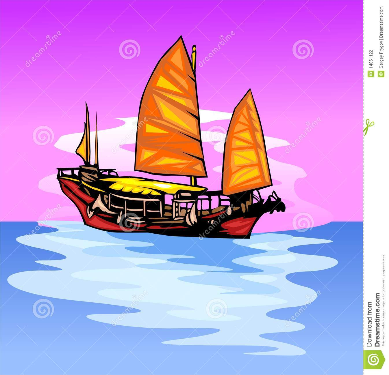Ship with a sail.