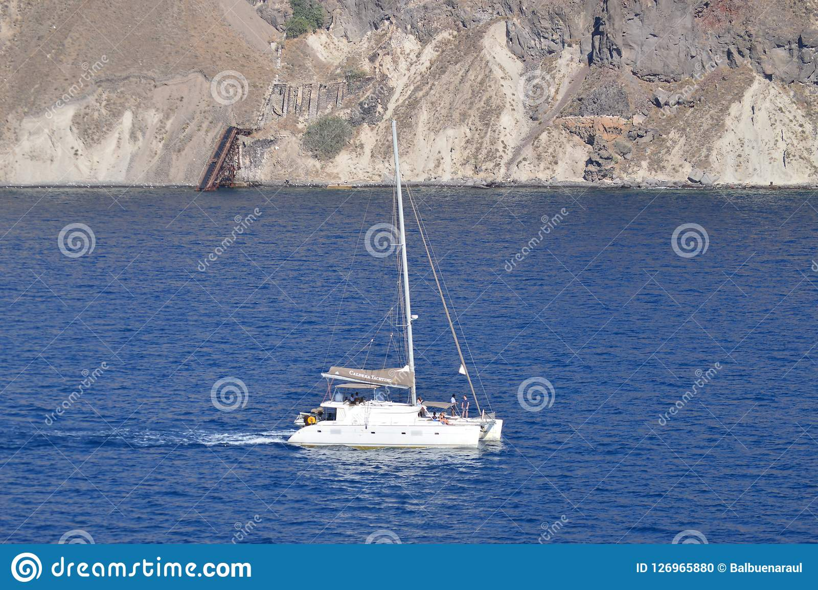 Ship Sailing Through The Bay Of Santorini Island Photo From High Sea. Transportation Landscapes, Cruises, Travel