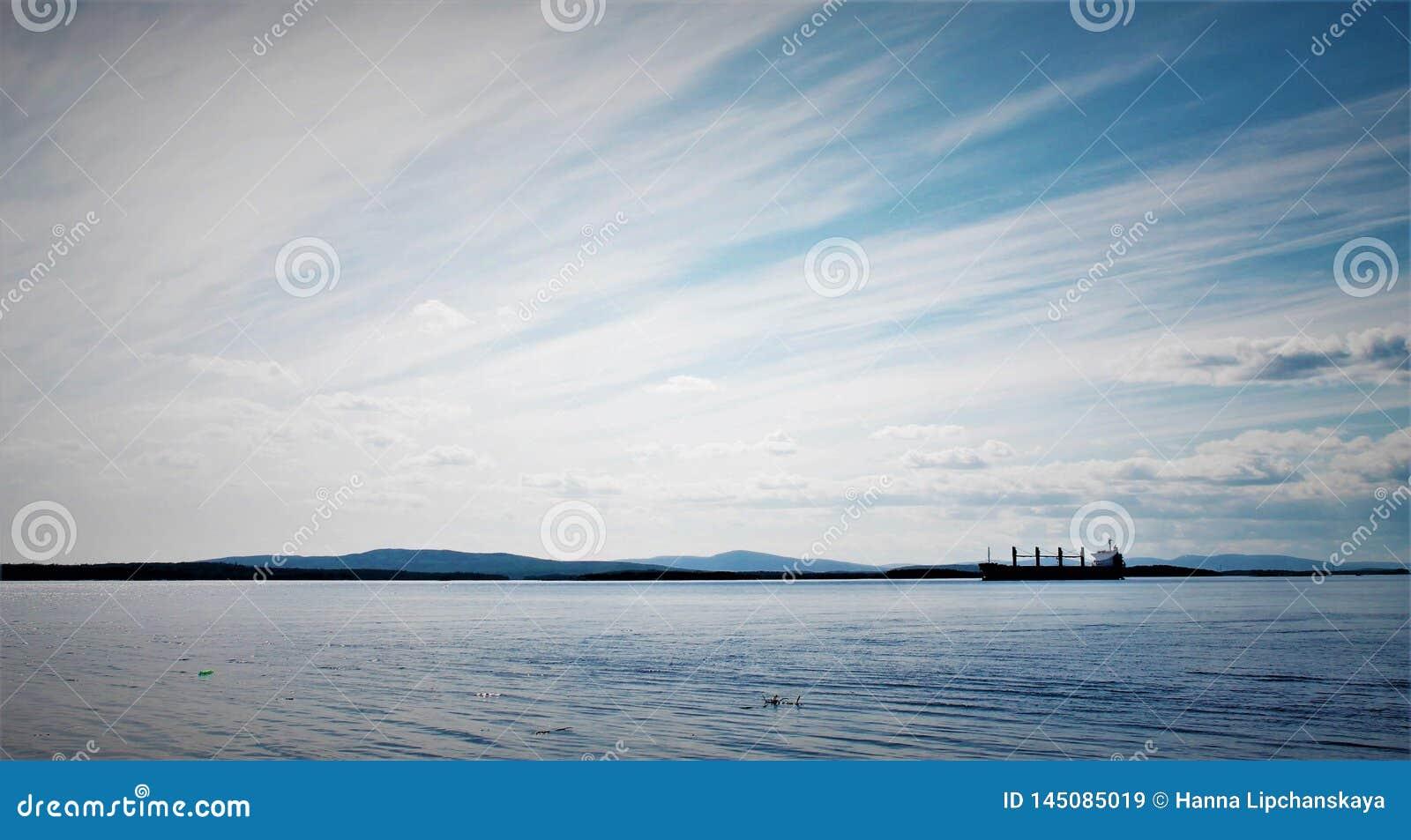 A ship sailing in the White sea
