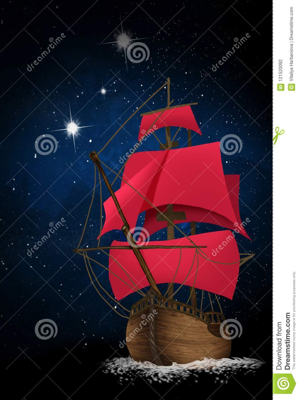A Ship With Scarlet Sails Against The Background Of Dark Night Sky Stars