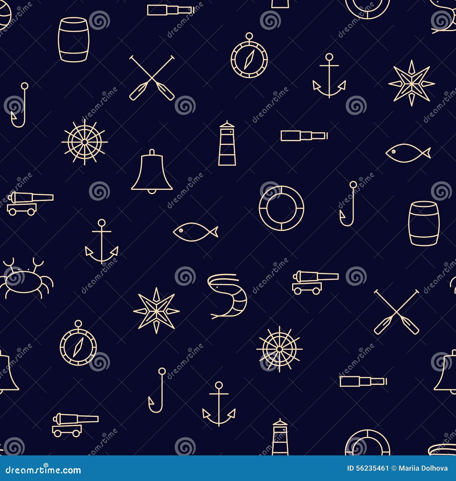 Ship & Sea line icons seamless pattern