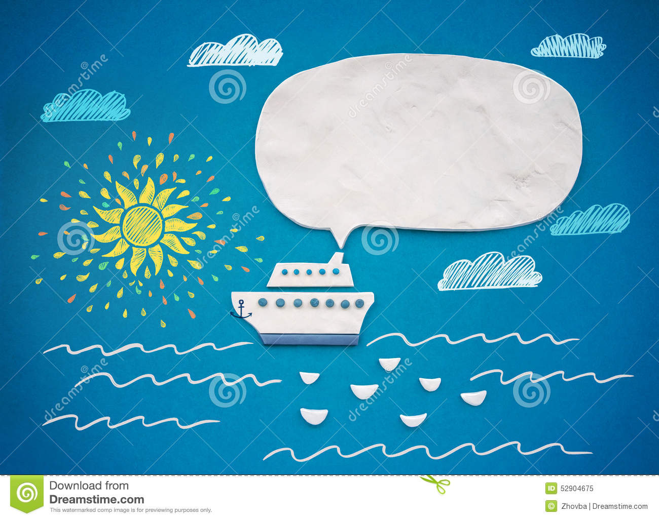 Ship And Speech Bubble Of Plasticine Or Clay Stock Image