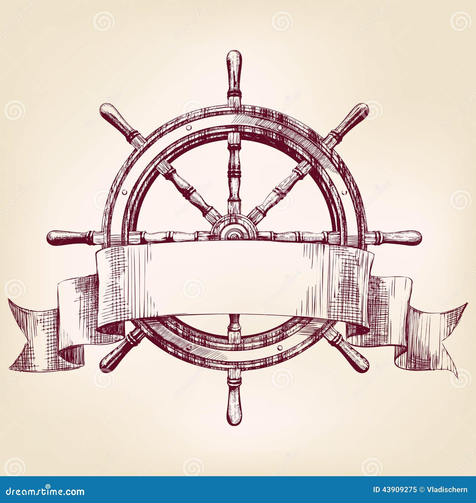Ship Steering Wheel Drawing Vector Illustration Stock