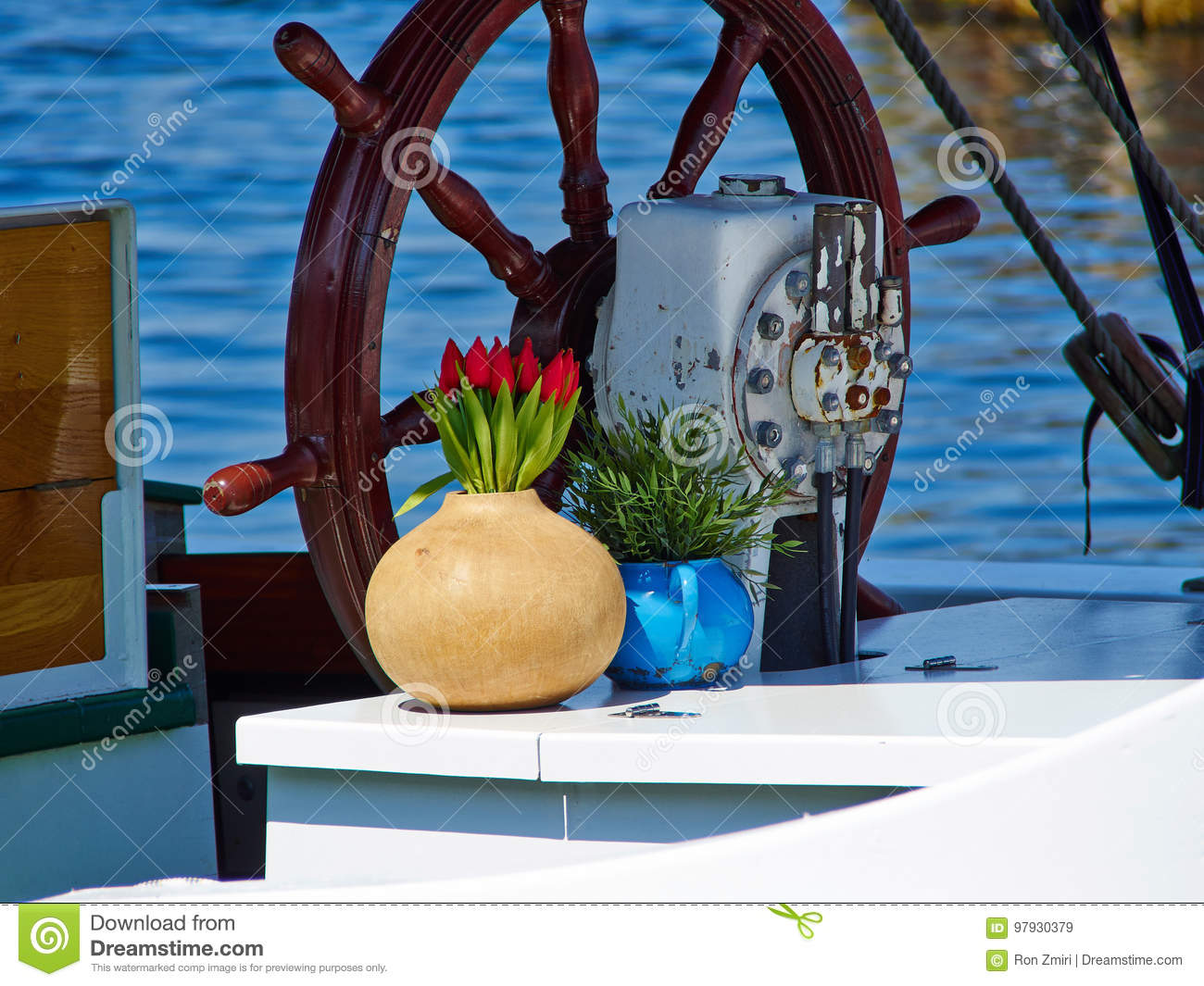 Ship Steering Wheel On A Sailing Boat Stock Image Image Of Direction Maritime 97930379