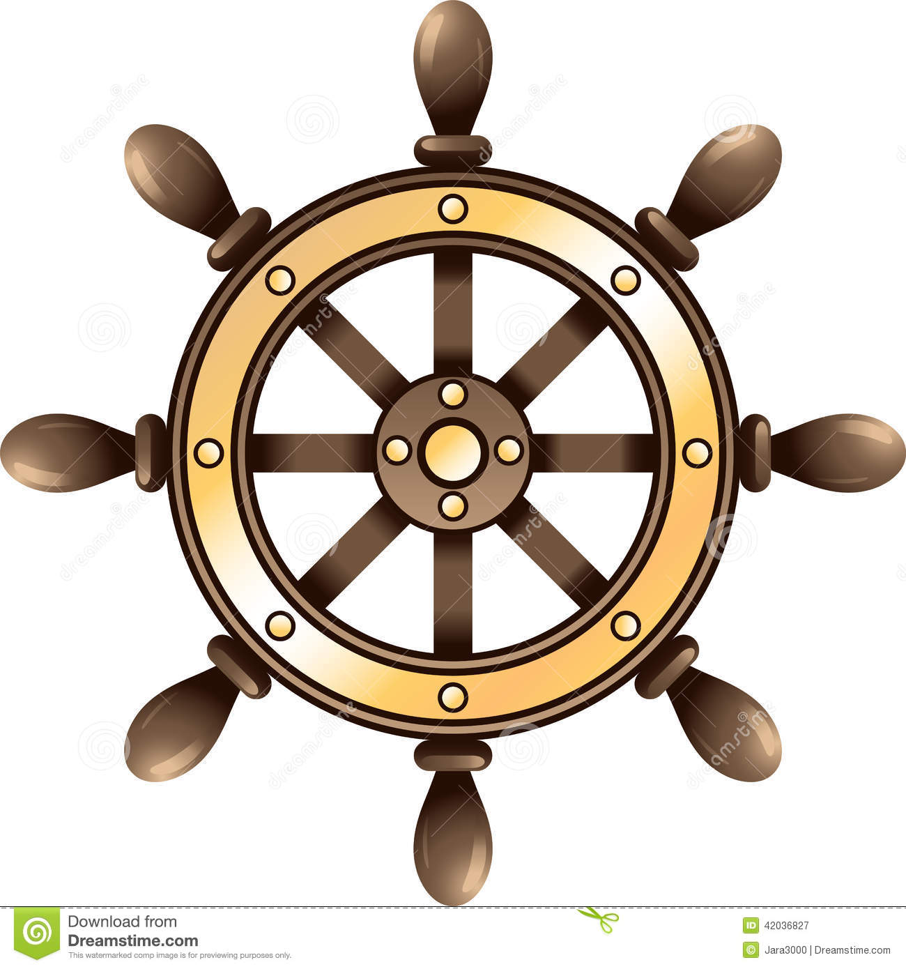 Ship steering wheel. Vector illustration on white background.