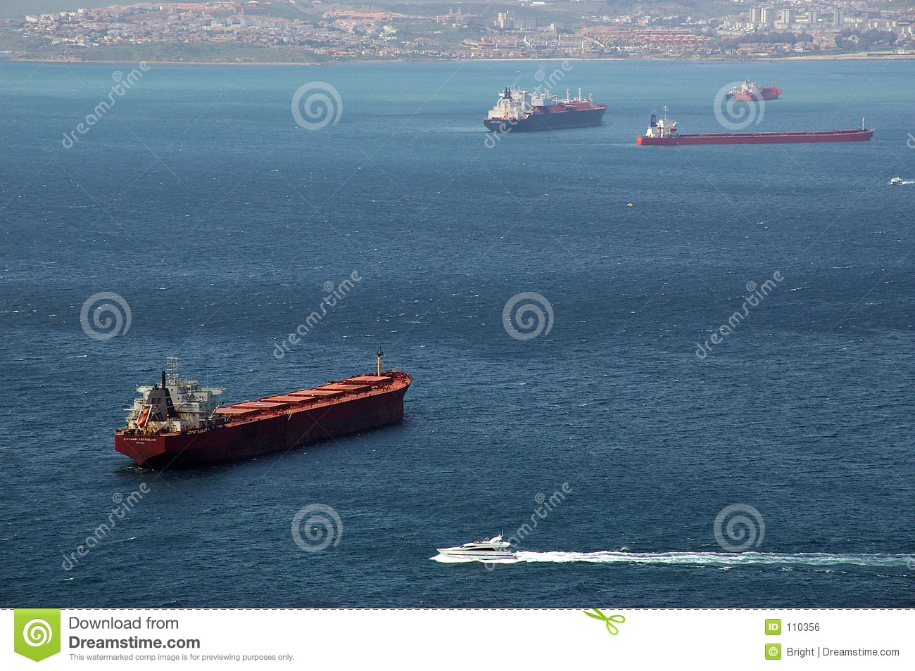 ship traffic in Gibraltar Bay