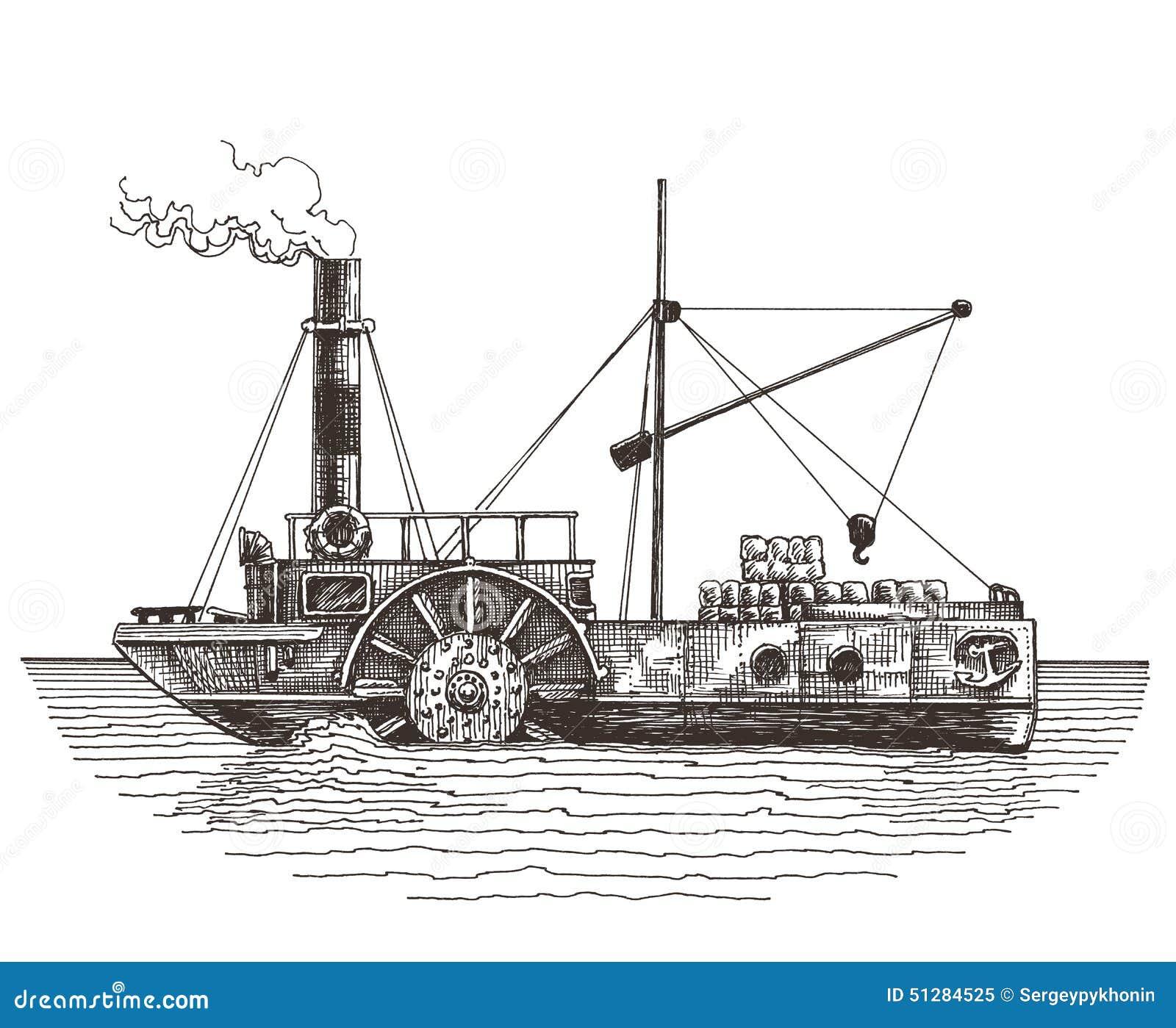 Ship Vector Logo Design Template Steamboat Or Stock