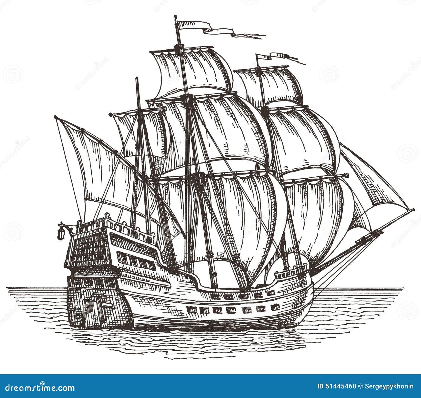 Ship On A White Background. Sketch. Illustration Stock