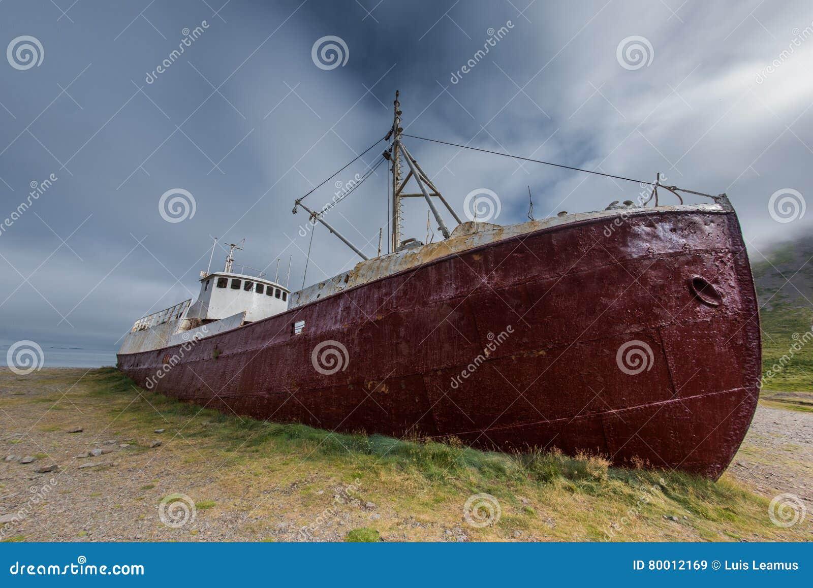 Ship Wreck, Western Fjords, Iceland Stock Image - Image of icelandic