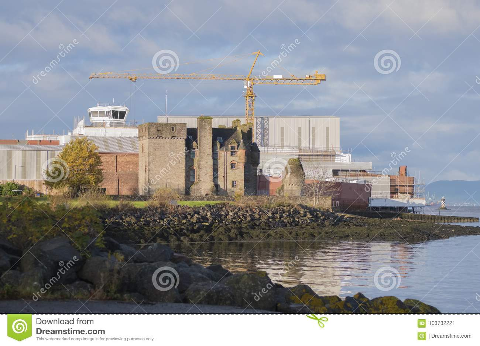 Shipbuilding With Crane and Newark Castle In Port Glasgow Scotland Coast sea Beach Traditional Industry