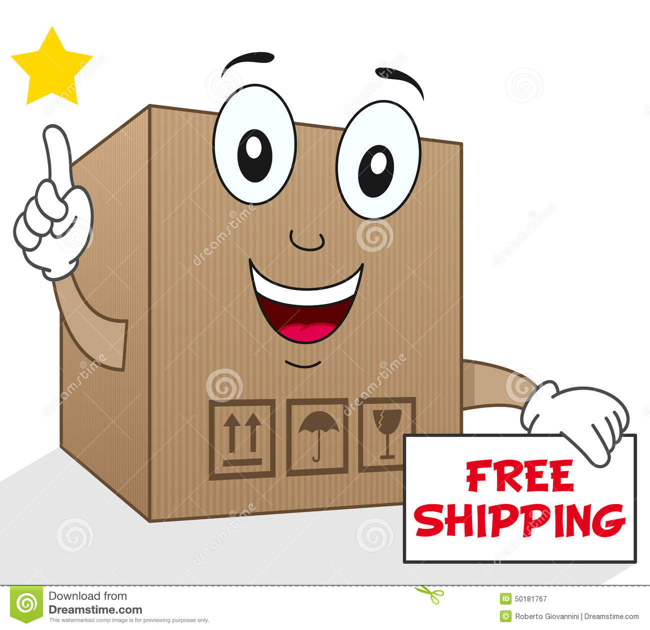 Shipping Delivery: Shipment Cardboard Box Free Shipping Stock Vector