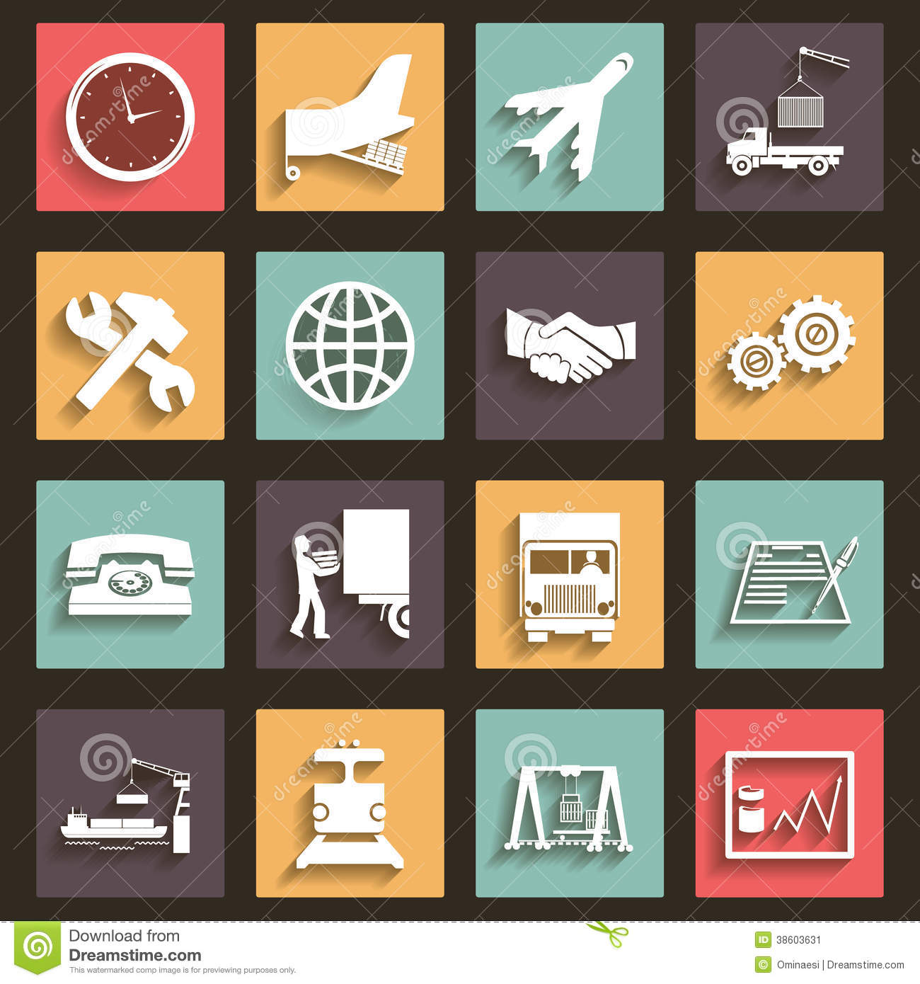 Download Shipment And Transportation Icons Symbols Flat Design Style Vector Stock Vector - Illustration of hands, repair: 38603631