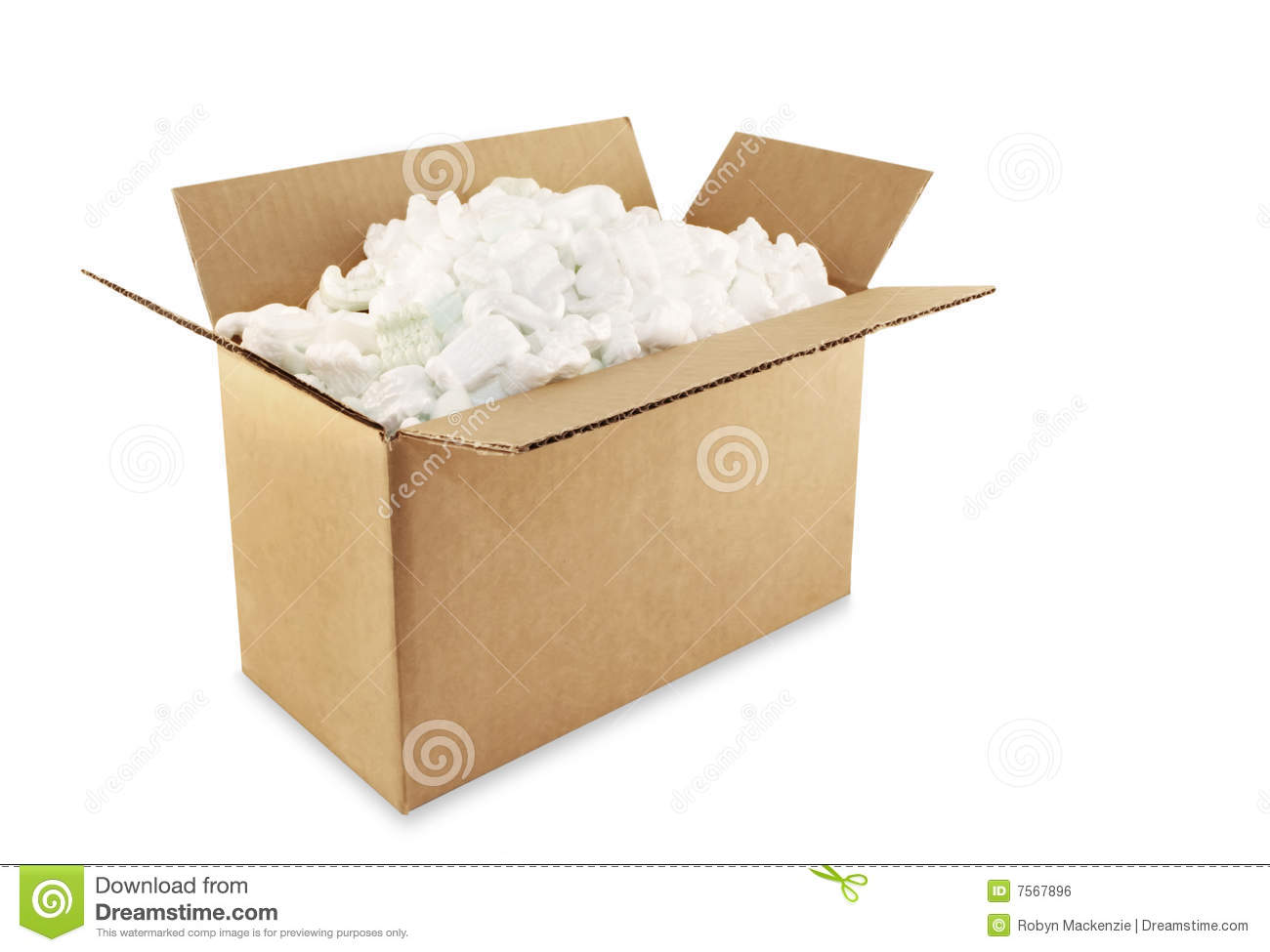 Packaging Box Filled With Styrofoam Pellets Royalty Free