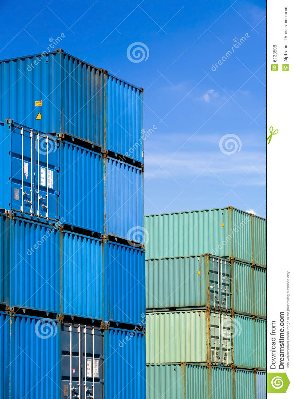 Shipping containers at harbor terminal