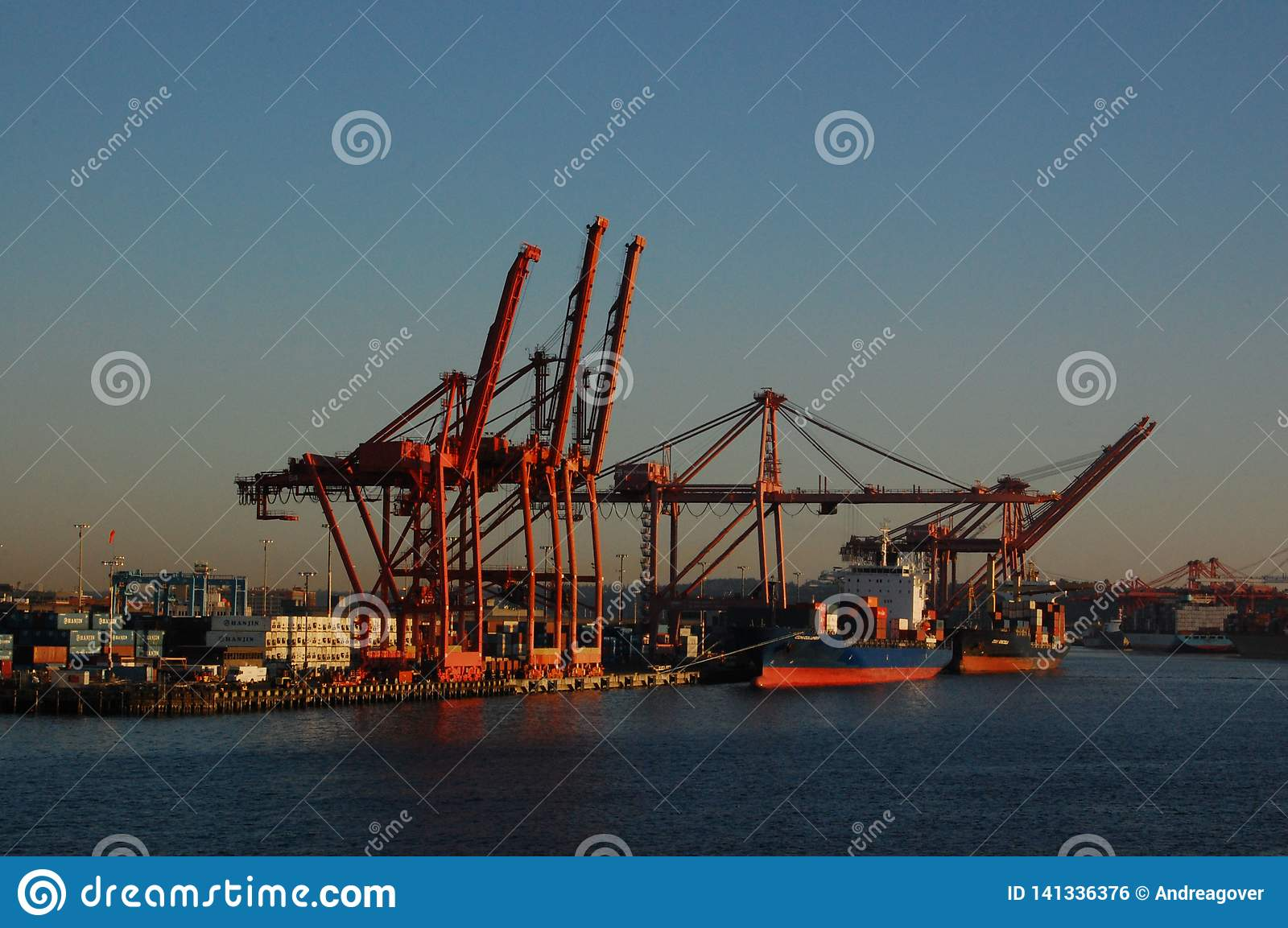 Shipping Cranes on a Waterfront