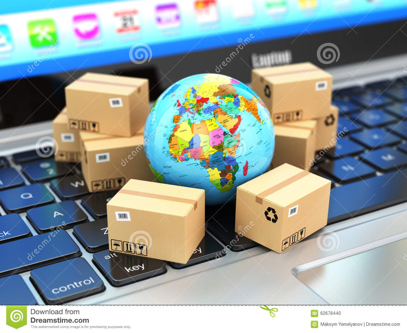 Shipping Delivery And Logistic Concept Earth And Cardboard Box Stock Illustration