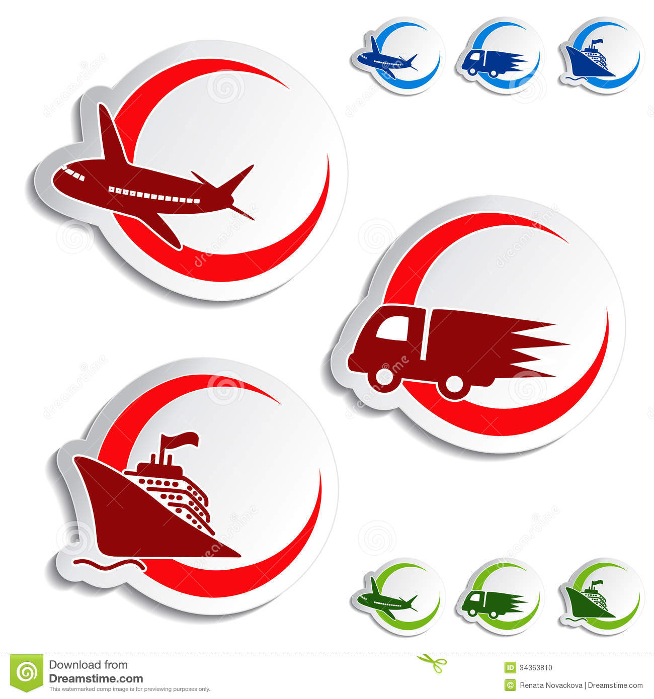 Shipping, Delivery Stickers - Car, Ship, Plane Stock Photo - Image ...