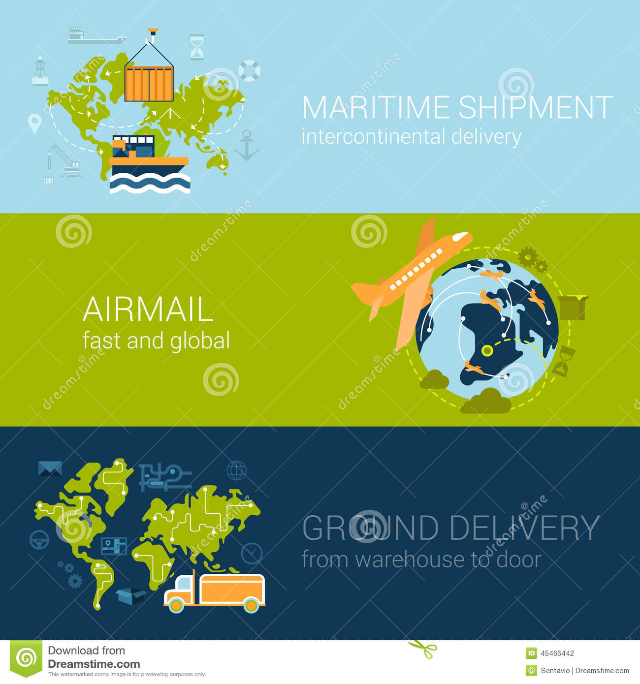 Shipping Delivery: Shipping Delivery Types Concept Flat Web Template