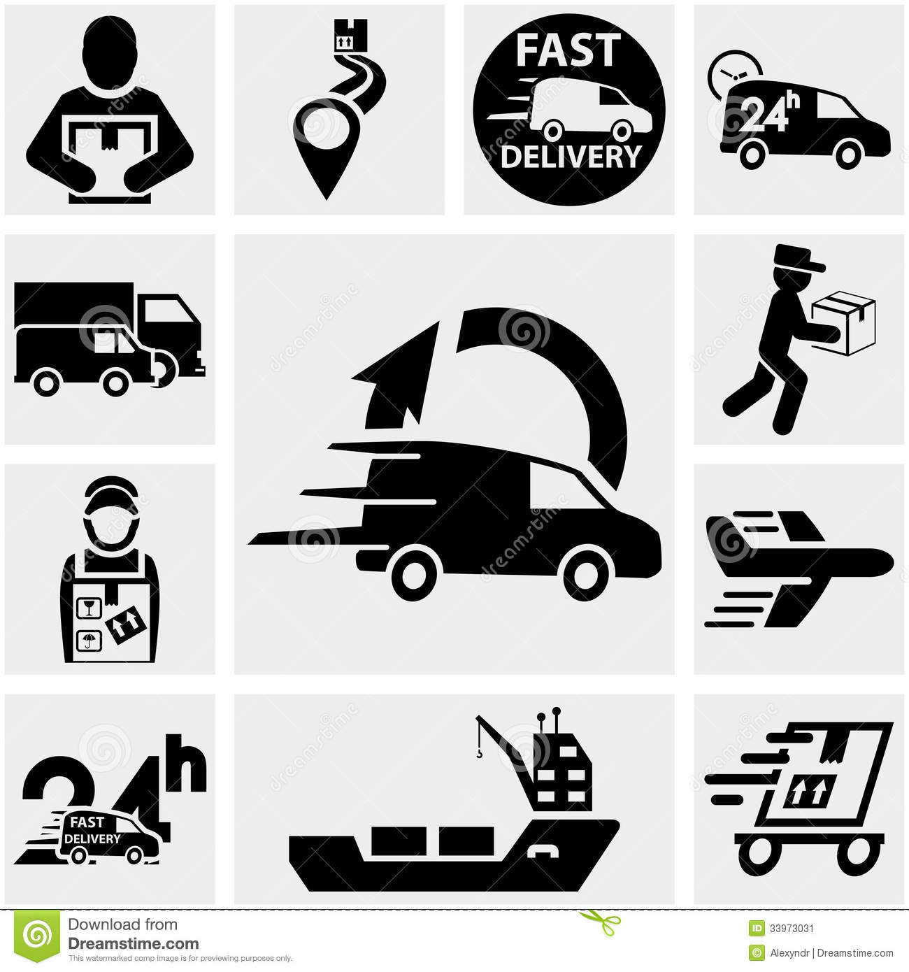 Shipping And Delivery Vector Icons Set On Gray. Stock Image - Image ...