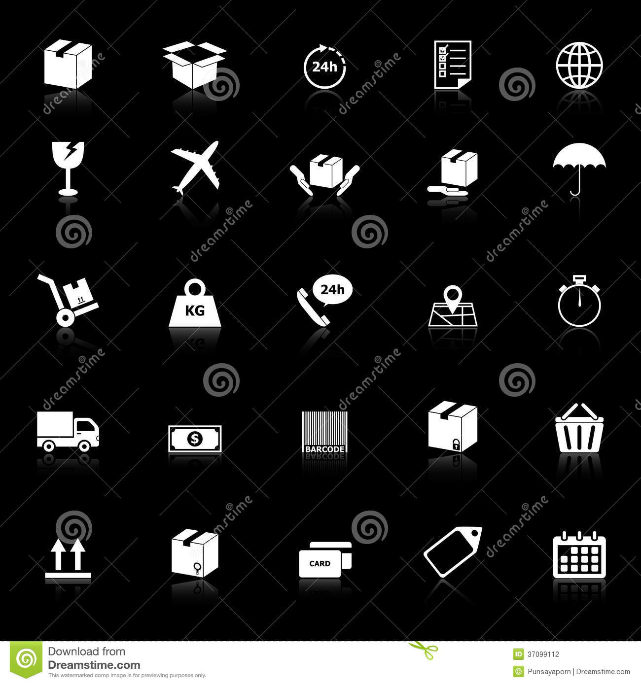 Shipping Icons With Reflect On Black Background Stock