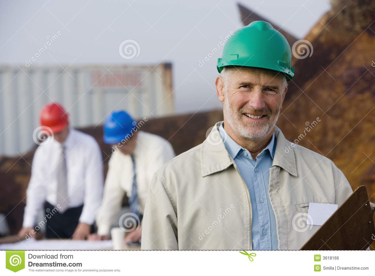 Shipping inspection engineers with plans