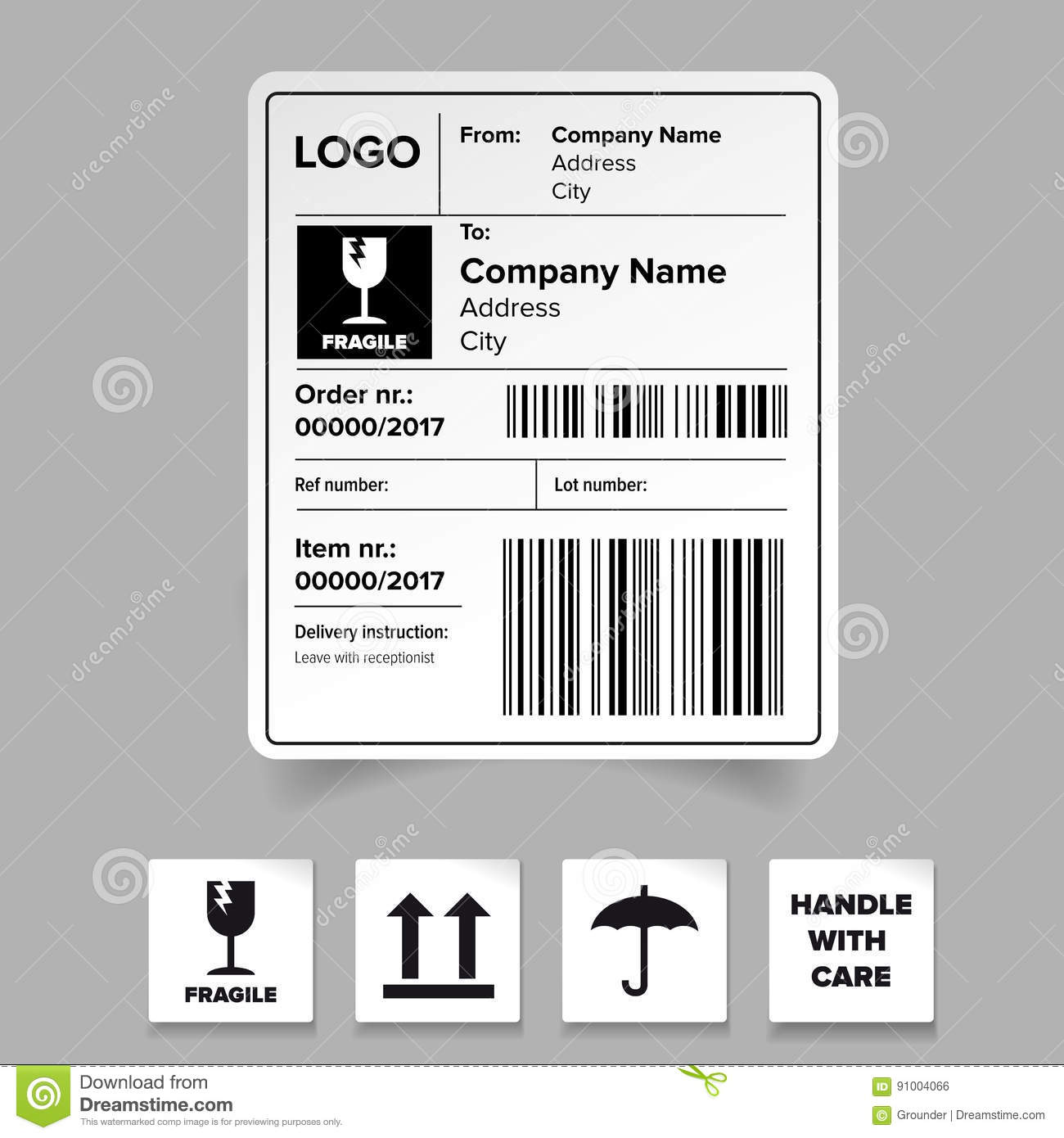 Shipping label template stock vector. Illustration of labels - 91004066