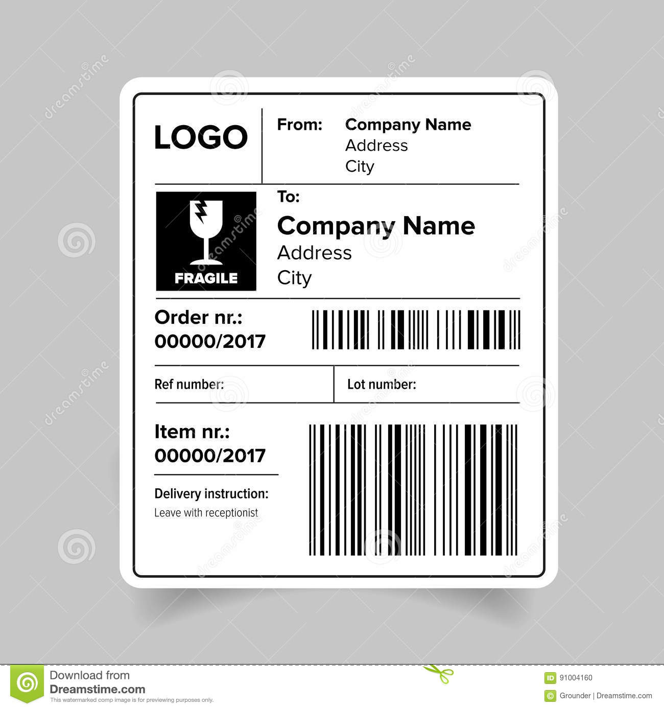 Shipping Label Template Stock Vector. Illustration Of