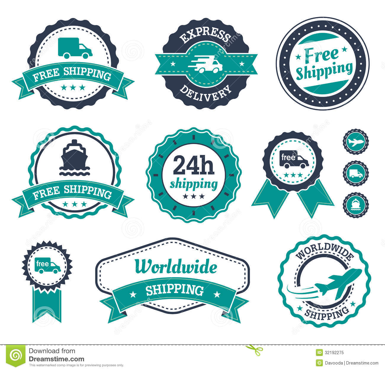 Shipping Delivery: Shipping Labels. Stock Vector. Illustration Of Merchandise
