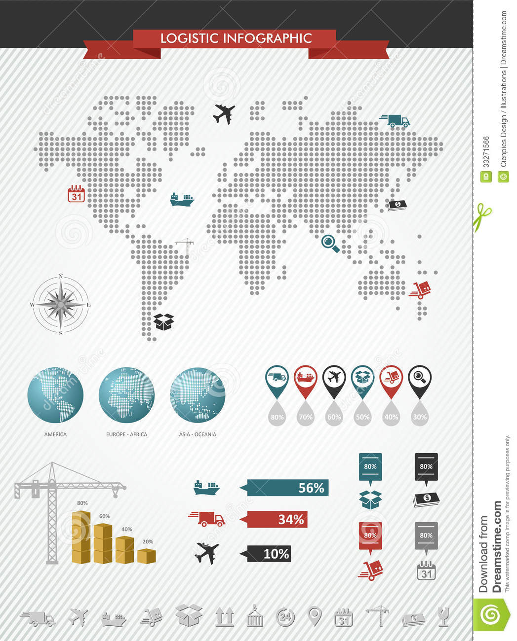 Shipping Logistic Infographic World Map Icons Set Stock Vector - Image: 33271566