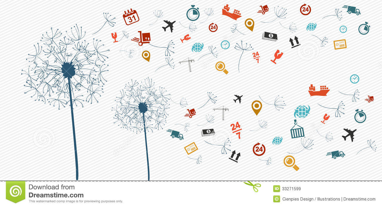 Shipping logistics flying icons dandelion concept illustration. Vector ...