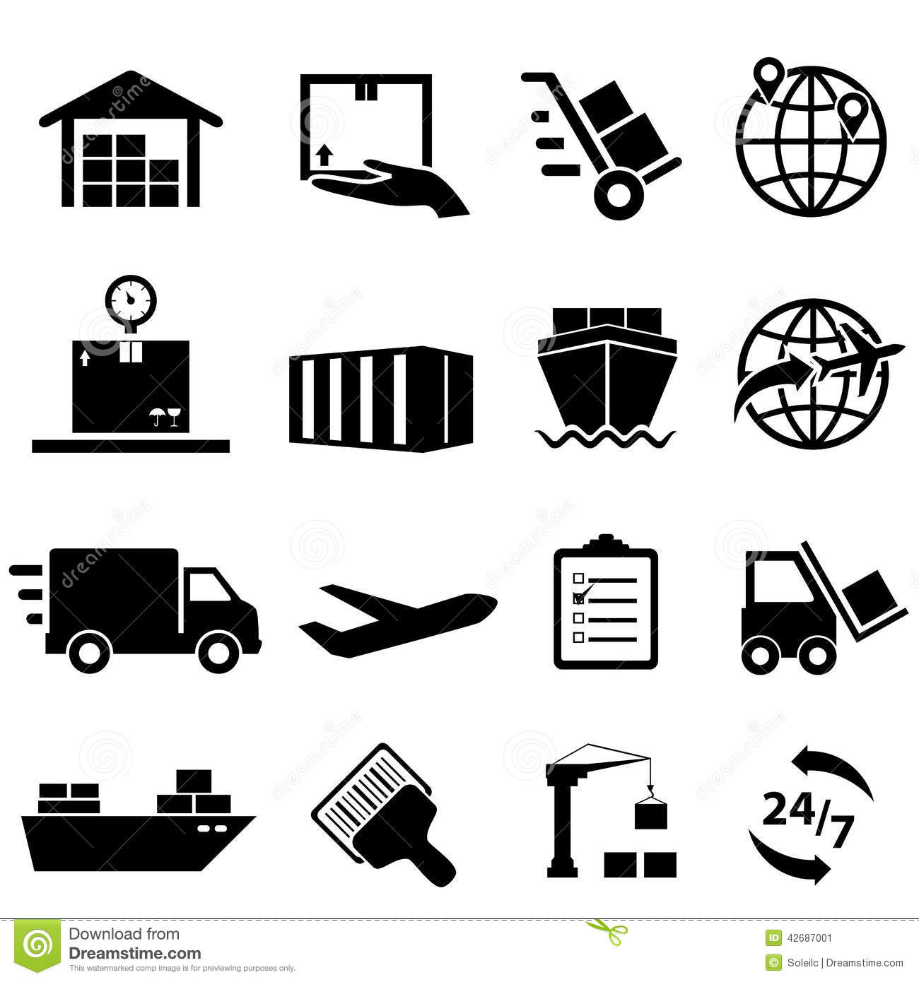 Shipping And Logistics Icons Stock Vector - Image: 42687001