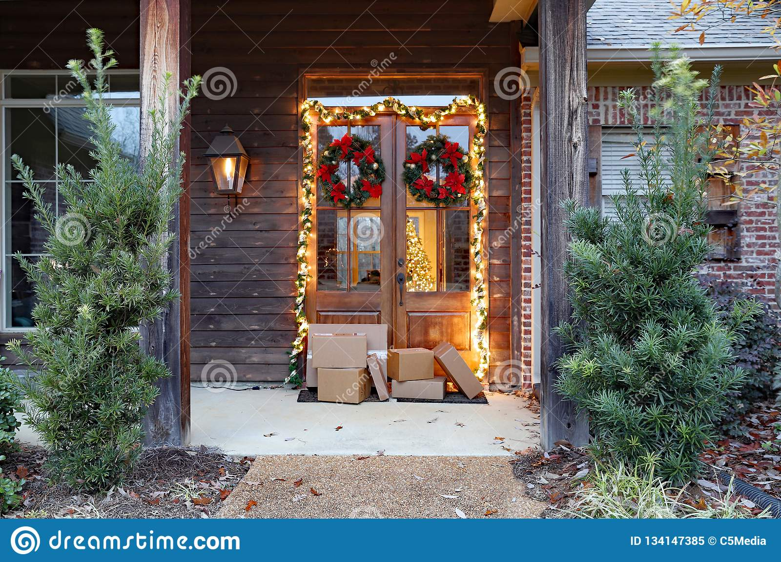 Shipping packages on porch during holiday season
