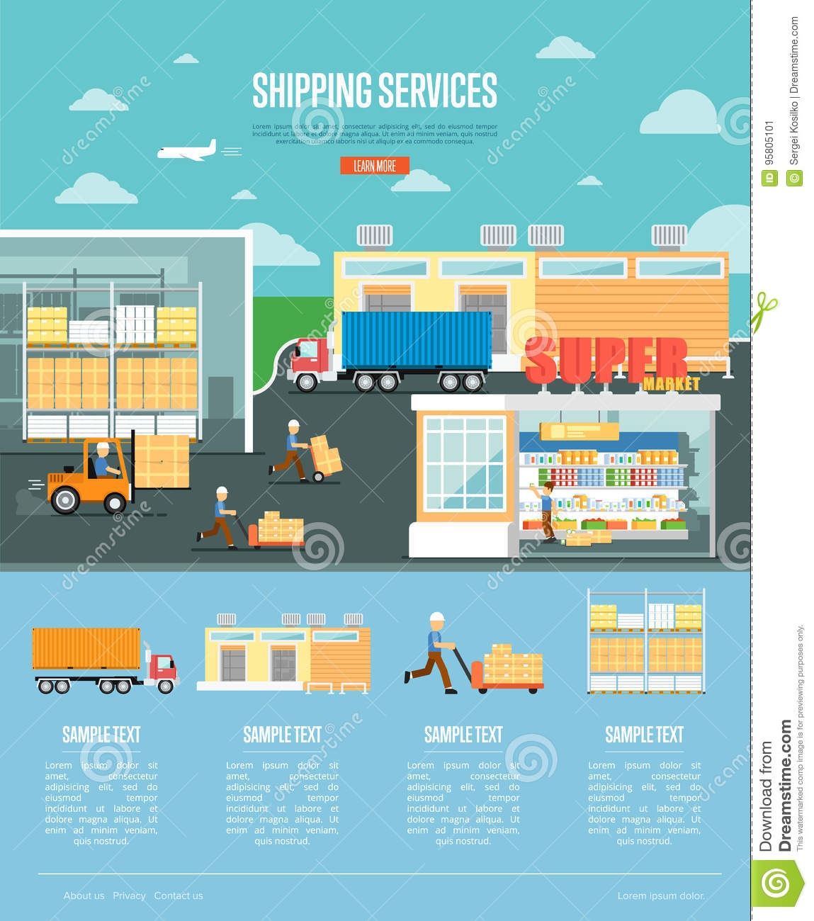 Shipping Services And Retail Distribution Poster Stock