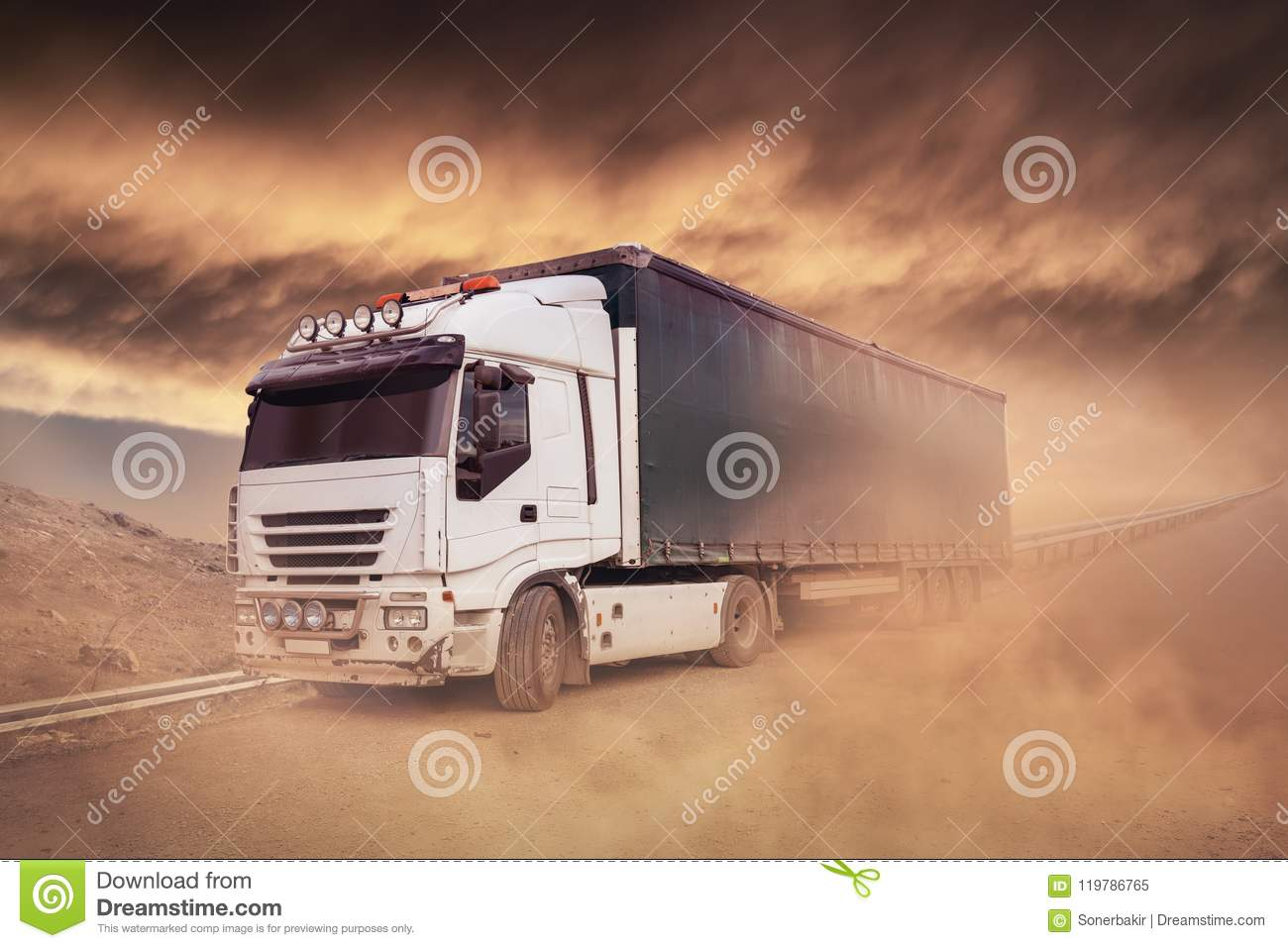 Shipping Truck on the highway- Trucking, Freight Transport
