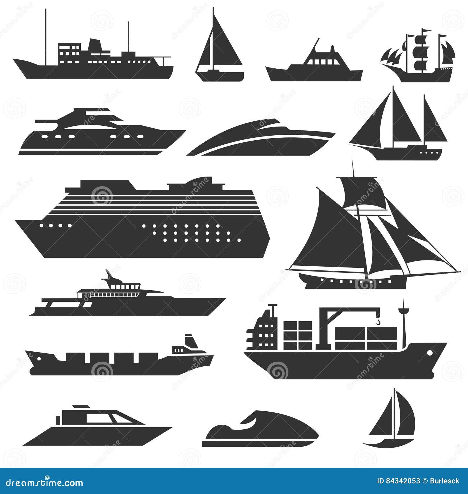 Ships and boats icons. Barge, cruise ship, shipping fishing boat vector signs
