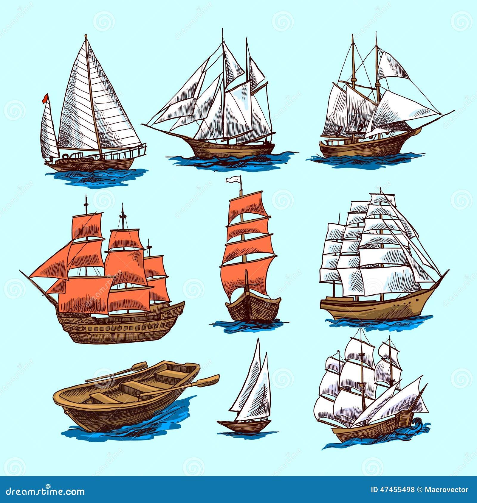 Vintage Sailboat Sketch Ships And Boats Sketch...