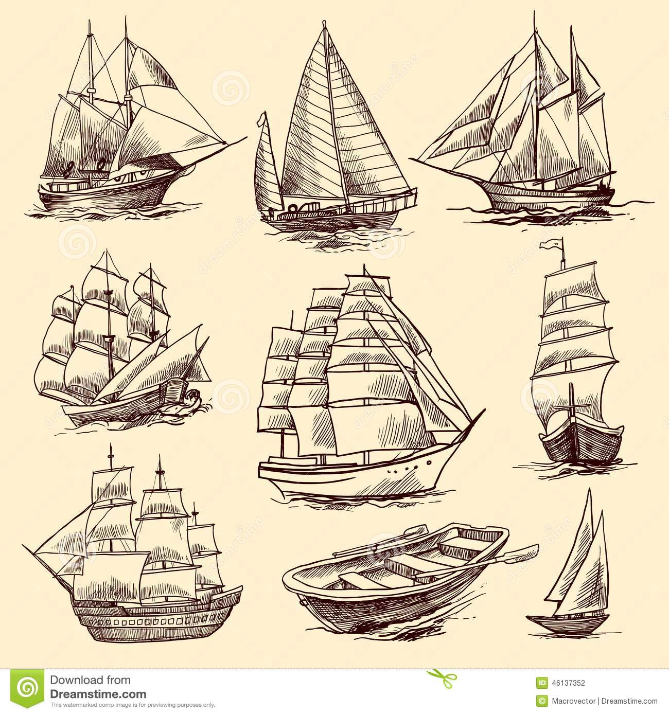 Ships And Boats Sketch Set Stock Vector. Illustration Of