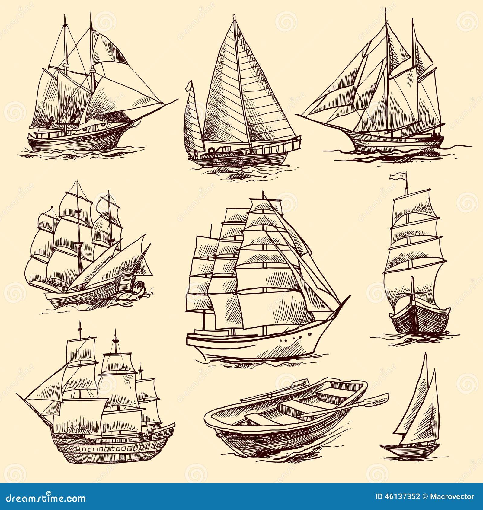 ships and boats sketch set stock vector image 46137352
