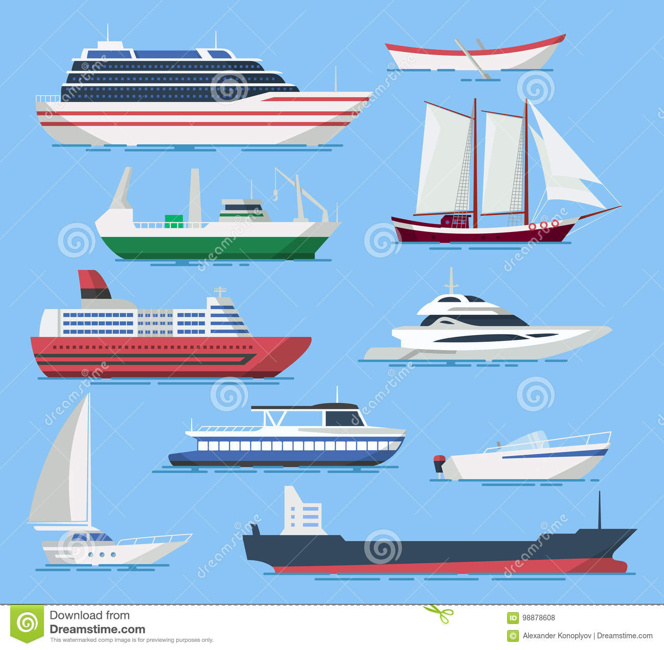 Ships and boats vector set in a flat style.