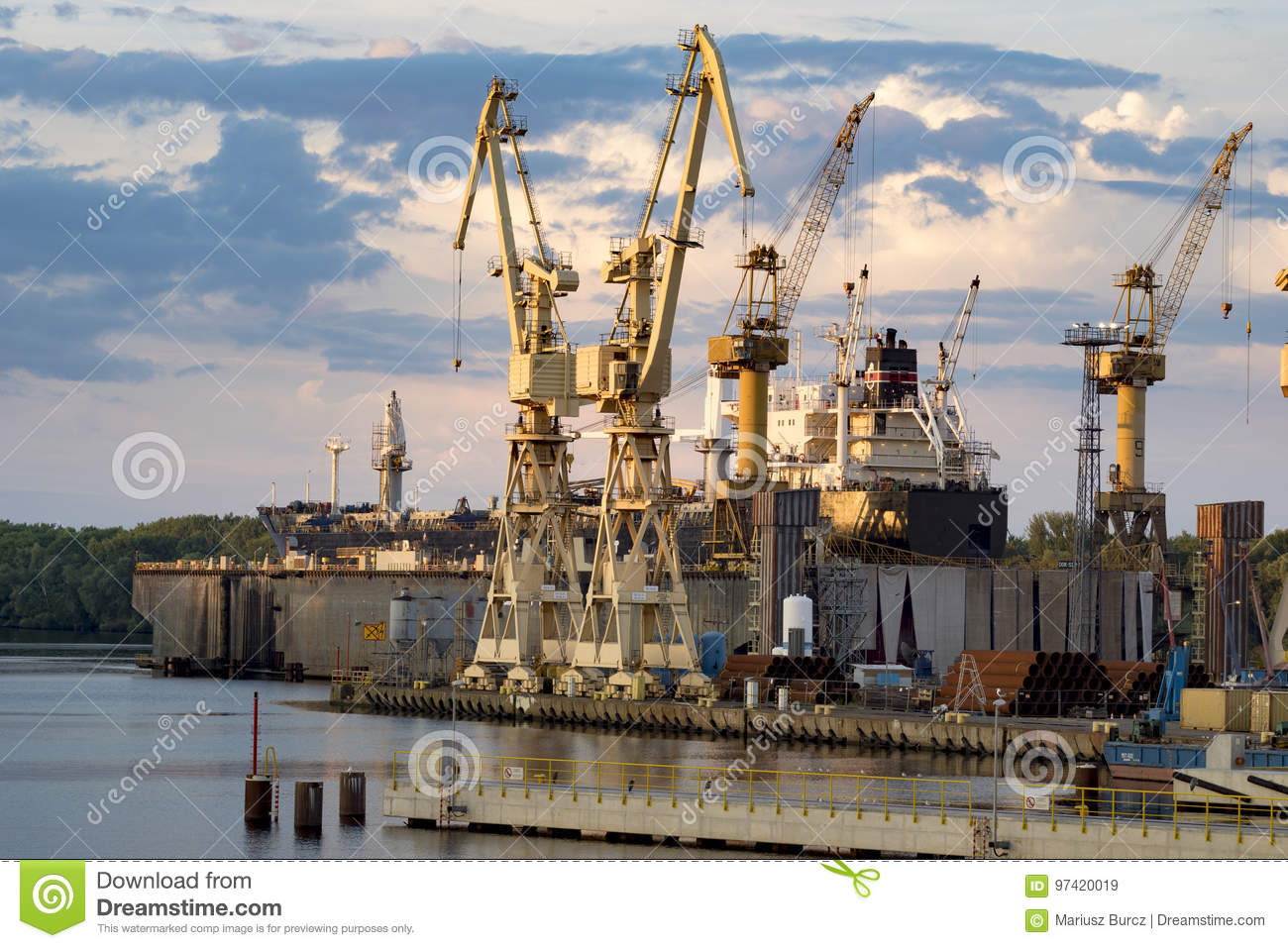 Ships in repair yard